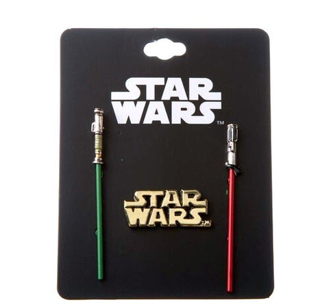 "Collector pin set of 3 sturdy metal pins by Bioworld.  A green Jedi lightsaber pin version of Luke Skwalker's lightsaber, a red Sith lightsaber pin of Darth Vader's lightsaber, & a gold tone Star Wars logo. Details: Sturdy 3-dimensional sculpt metal pins with colored enamel pin detail. Star Wars logo pin is about 1.5"" across. Red and Green Lightsaber pins each feature 3-dimensional sculpted hilt shapes. Lightsaber pins are approximately 2.5"" long and feature 2 backings to make it twist-proof"