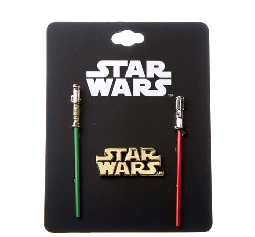 Collector pin set of 3 sturdy metal pins by Bioworld.  A green Jedi lightsaber pin version of Luke Skwalker's lightsaber, a red Sith lightsaber pin of Darth Vader's lightsaber, & a gold tone Star Wars logo. Details: Sturdy 3-dimensional sculpt metal pins with colored enamel pin detail. Star Wars logo pin is about 1.5