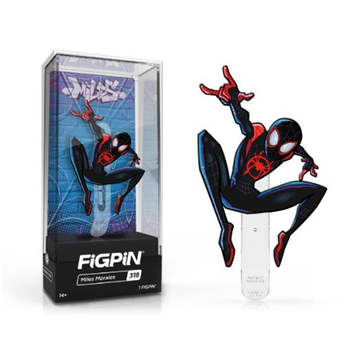 From the Spider-Man: Into the Spider-Verse movie comes this Miles Morales FiGPiN Enamel Pin.