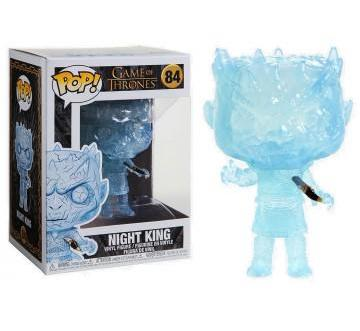 Game of Thrones Night King with Dagger in the Chest Funko Pop  Well known within the fan and collector world—FunkoPop! vinyl figurines have become a fandom favorite unto themselves!  FunkoPop! figures measure approximately 3 3/4-inches tall. With their stylized animated eyes, large heads, and vibrant full-color window packaging, Funko from your favorite fandom are a welcome addition to any space!