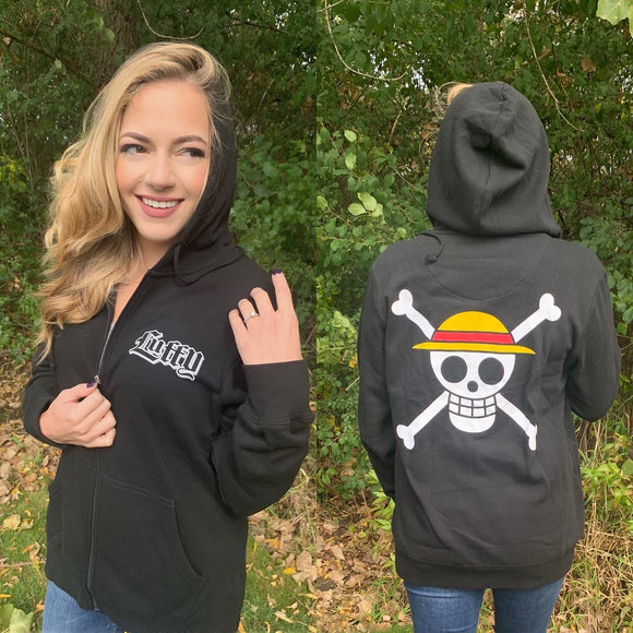 Let's go on an adventure to find the One Piece with Monkey D. Luffy the Straw Hat Captain in this officially licensed One Piece Merch! Officially Licensed One Piece Adult Unisex Zip Hoodie