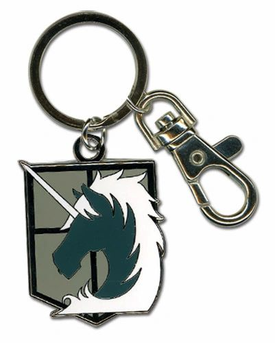 An enameled metal keychain with clip and ring, depicting the Military Police Brigade emblem from Attack on Titan.  The metal emblem is approximately 1 inch wide by 1.5 inches tall.