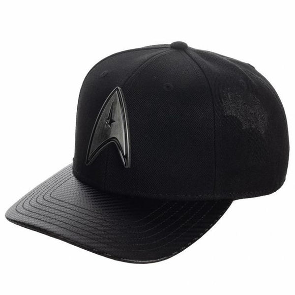 Head out to the final frontier with this impressive Starfleet take on classic black cap.  New Snapback Shape With Curved Bill Metal Starfleet Badge Front Art Embroidered Back Art Carbon Fiber Bill Fabric