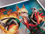"""There's no way I could beat you without taking any risks."" - Bakugo Katsuki (Kacchan)  My Hero Academia licensed art print by artist Dominic Glover. In honor of Katsuki.  • Print Size 16"" x 20"" on Premium Paper • Made in the USA"