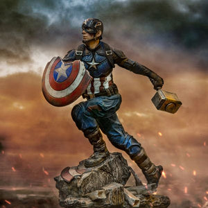 Worthy Captain America Avengers: Endgame 1:10th Scale Statue by Iron Studios depicting Steve Rogers with Mjolnir (Thor's hammer) and the broken shield