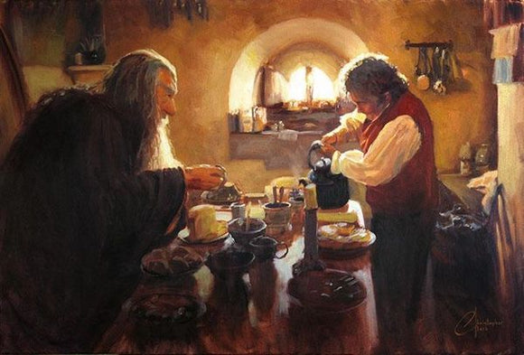Gandalf and Bilbo Having Tea at Bag End Art Print