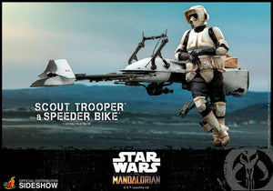 Star Wars The Mandalorian Scout Trooper and Speeder Bike Sixth Scale Shideshow Hot Toys Set