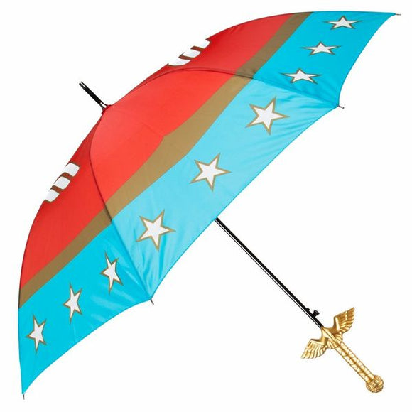 Wonder Woman Sword Umbrella crafted to recreate Wonder Woman's iconic sword The God Killer. This Wonder Woman umbrella features classic Marvel Comics style Wonder Woman art and colors.  The umbrella's eye-catching gold handle is styled after the hilt of Wonder Woman's sword.   Wonder Woman Sword Handle Iconic Wonder Woman Canopy Art Carrying Shoulder Sleeve