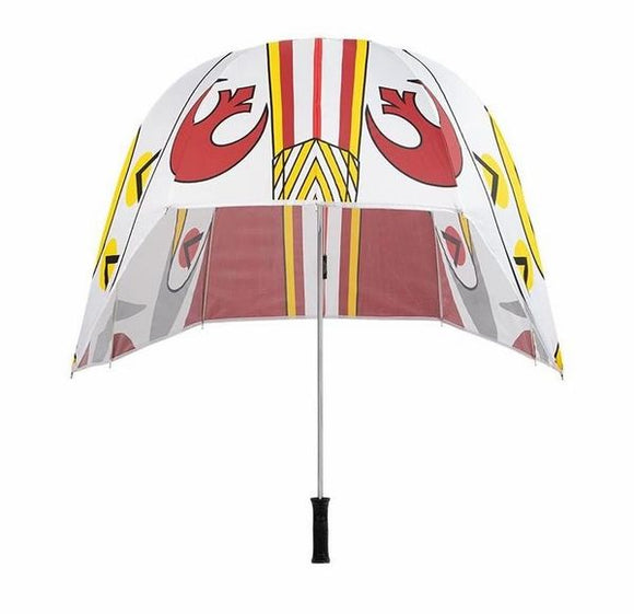 Ride out the storm with our Rebel Pilot Helmet Umbrella, designed to keep you dry on the go. Inspired by the fearless, elite squadron of fighters, this lightweight design will help you combat whatever weather comes your way.  High-grade, water-resistant pongee material Black metal shaft Screen-printed helmet design Manual open Snap-down strap closure