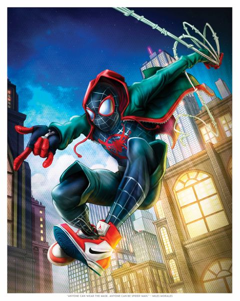 """Anyone Can Be Spider-Man"" Miles Morales Print By Dominic Glover"