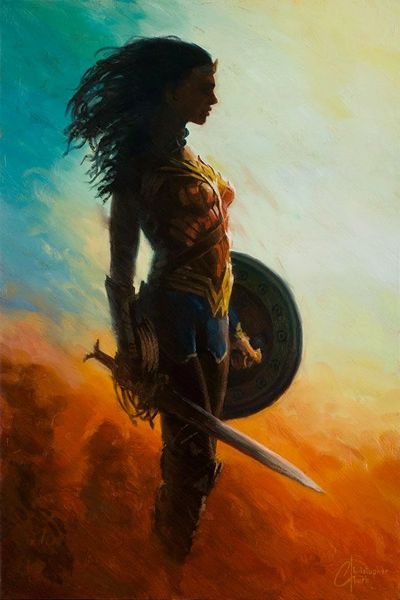 Wonder Woman Silhouette  Wonder Woman Art Print by Christopher Clark Licensed DC Comics fine art print celebrating the Amazon warrior 'Diana Prince', Princess of Themyscira.  Print Size: 18