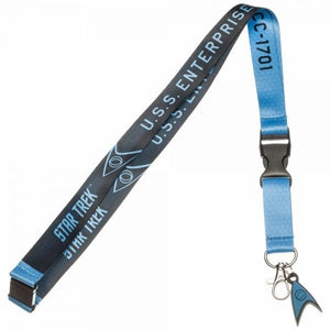 "Star Trek Blue ""Sciences Division"" Lanyard. Perfect for the doctors and science officers at heart.  Officially Licensed Star Trek Product from Bioworld Includes Rubber Charm and Clear ID Sleeve Quick release clip Reversible U.S.S. Enterprise NCC - 1701 Design - One Size Fits All Includes Collectible Sticker"