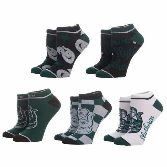 Ten socks for Slytherin!  Harry Potter Slytherin Hogwarts House Socks 5-Pair Set featuring five cunning Hogwarts House inspired ankle sock designs in the Slytherin House colors.  Fabrication: 98% Polyester, 2% Spandex Sizing: Sock Size 9-11/Fit Shoe 5-10