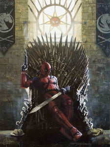 """Deadpool on the Iron Throne"" by Christopher Clark  Details to enjoy: Jaimie's hand in the bottom right, chimichangas in the bottom left, unicorn banners, and unicorn version of the Longclaw sword hilt!  Game of Thrones and Deadpool Parody Art Print Print Size: 16"" x 12"" on Premium Archival Paper"