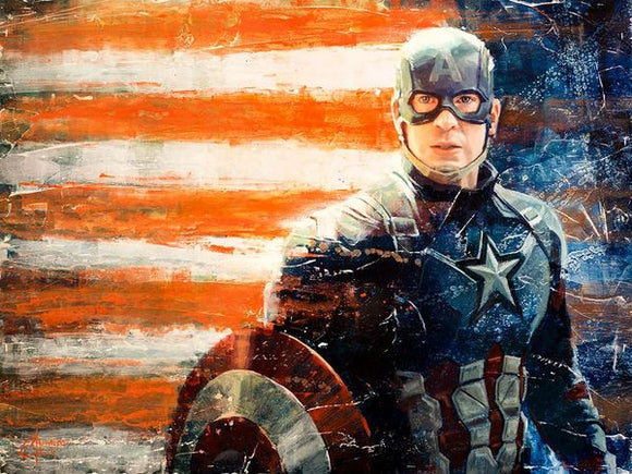 Captain America Flag Art Print