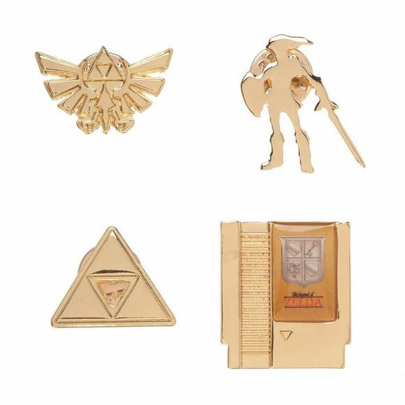 Zelda Gold Lapel Pin Set 4 Pack