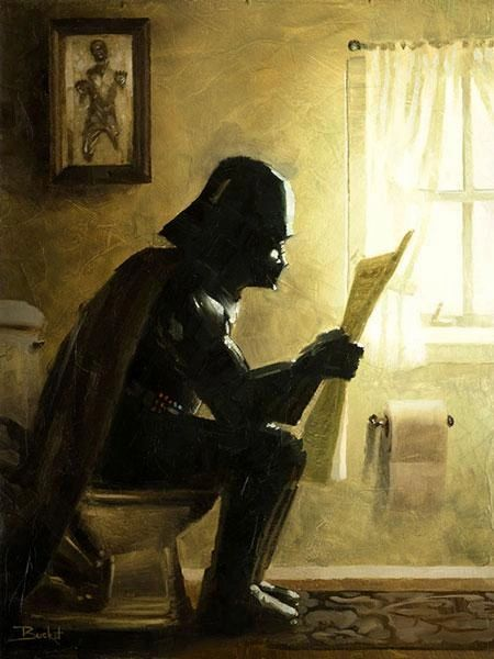 He finds your lack of faith disturbing...  Parody Art Print by Bucket Art.  Vader is taking a short break in this art print. Don't forget to appreciate his Han in Carbonite art up on the wall!  • Print Size: 12