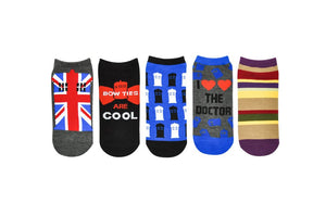 Doctor Who Union Jack Tardis Ankle Socks 5 Pack