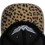 Wonder Woman Leopard Print Logo Distressed Cap
