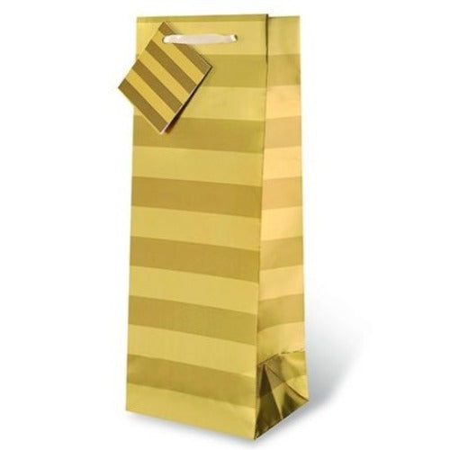Gold Stripe Foil Wine Gift Bag
