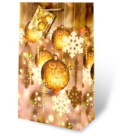 Festival Holiday Gold Two Bottle Gift Bag