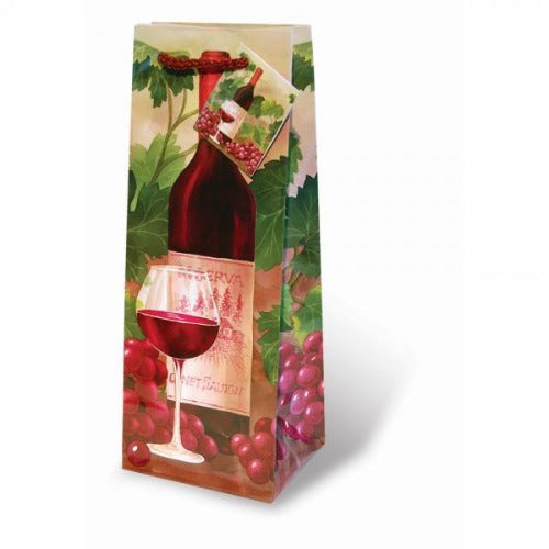Red Wine and Grapes Gift Bag