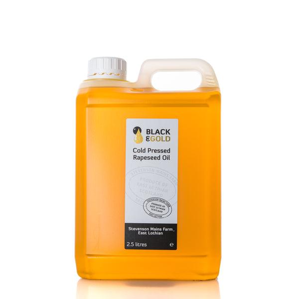 2.5 litre bottle of Black & Gold Cold Pressed Rapeseed Oil