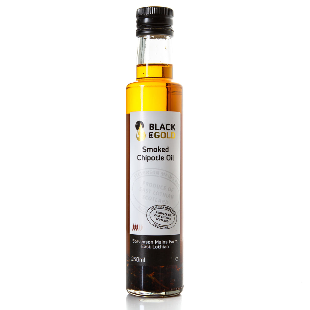 250ml bottle of Black & Gold Smoked Chipotle Oil