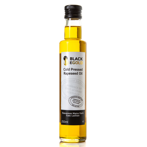 250ml bottle of Black & Gold Cold Pressed Rapeseed Oil
