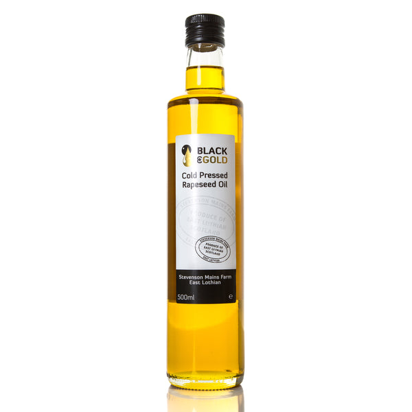 500ml bottle of Black & Gold Cold Pressed Rapeseed Oil
