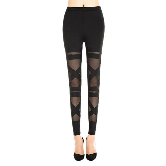 Elastic Mesh Pants Legging Rock Slim
