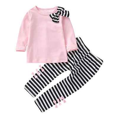 Baby Girls Clothes Long Sleeve Bow T-shirt+Stripe Pants