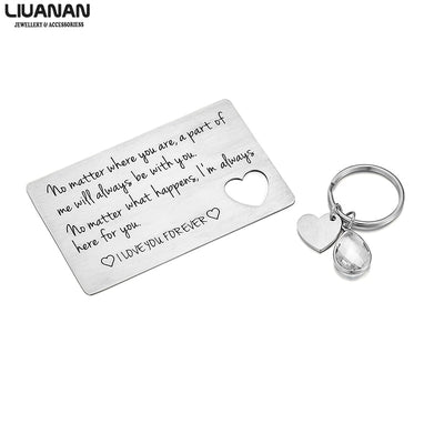 Couple Lover Gift Stainless Steel Heart Keychain for Her Wallet Insert for Him Valentines Day Long Distance Relationship Gift