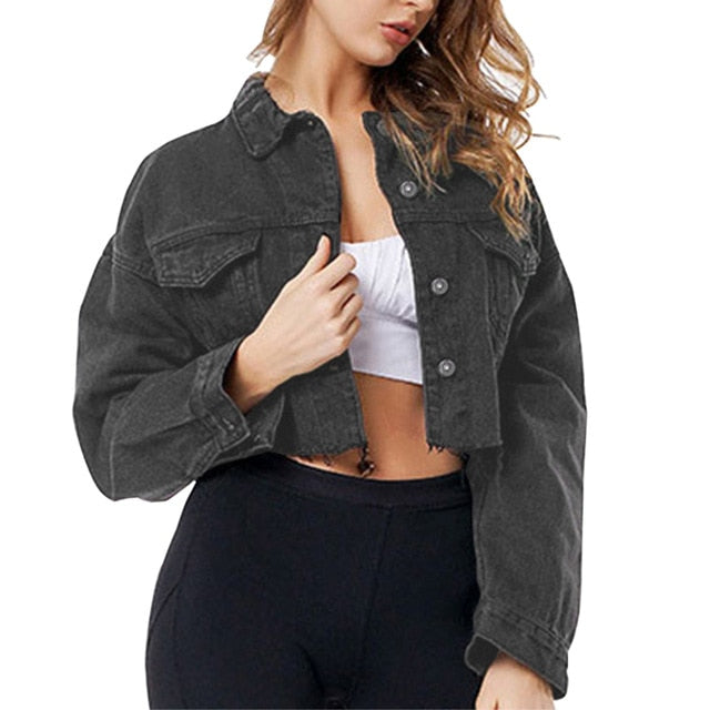 CALOFE Women Frayed Denim Bomber Jean Jacket