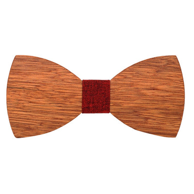 JAYCOSIN Tie Mens Wooden Bow Ties man for Party Business Butterfly Cravat Party Ties Polyester Handkerchief Wood Cuff links Set