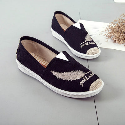 Embroider Women Shoes Casual Slip on Shoes