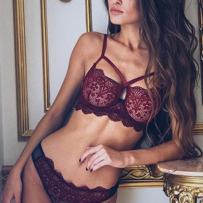 Bra Lace Transparent Unlined Bralette Thin Mesh Women Push Up Lingerie Set