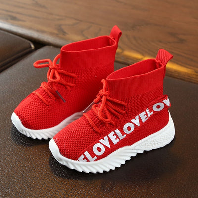 Girls Boys Letter Stretch Run Sneakers Sport Kids Shoes