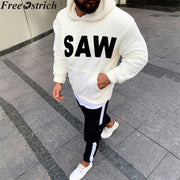 Autumn winter men plush casual Sweatshirts Hoodies long sleeve SAW printing plus size fashion Tops loose pocket Sweatshirt