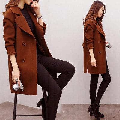 Women Wool Blend Warm Long Coat Plus Size