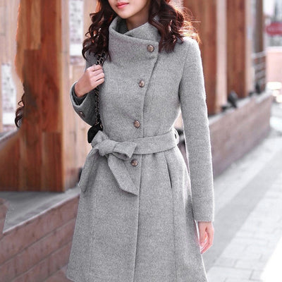 Women Winter Lapel Wool Coat Trench Jacket