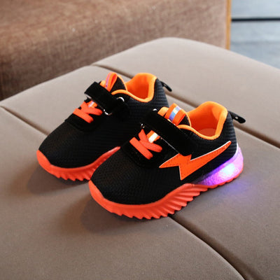 Children Baby  kids shoes breathable Mesh Led Luminous Sport