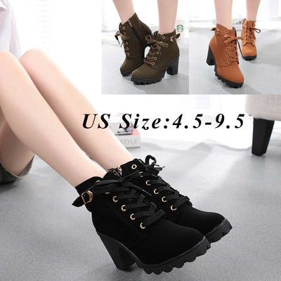 Women Boots Plus Size 40 Snow Boot For Women Winter Shoes Heels Winter Boots Ankle Botas Mujer Warm Plush Insole Shoes Woman#J30