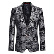 YUNCLOS  Fashion Men Suit Jacket Spring Two Buttons Jacquard Sliver Blazer Notched Lapel Slim Fit Stylish Blazer Dress Suit