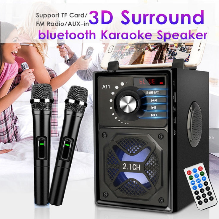 Karaoke Wireless Speaker 3D Surround Sound Multi-function bluetooth Speaker System Subwoofer Microphones Phone Holder 2500mAh