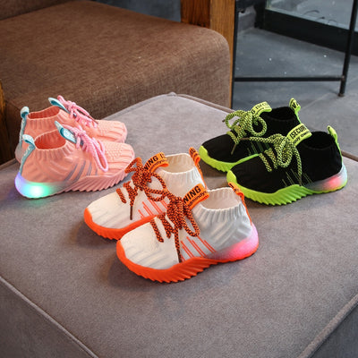 Kids Shoes Mesh LED Light Luminous Sport Shoes