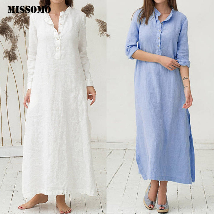 Women dress Kaftan Cotton Long Sleeve Dress