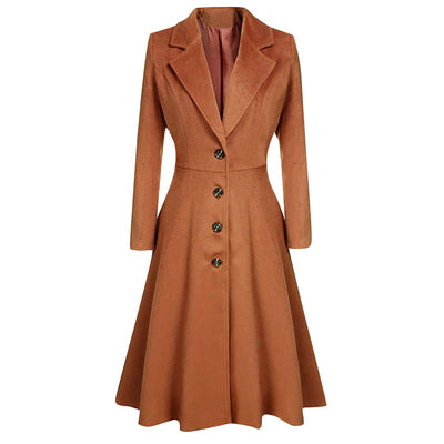 Womens Winter Lapel Button Long Trench Coat