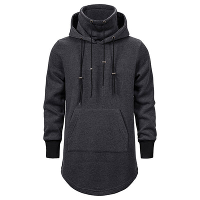Men's Solid Color Dark Long Hooded
