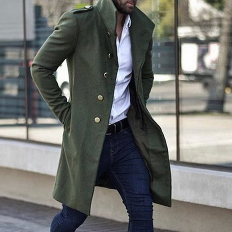 2019 Mens Overcoat Trench Coat Jacket Slim Solid Color Wild Standing Collar Single-Breasted Long Trench Jacket Casual Overcoat